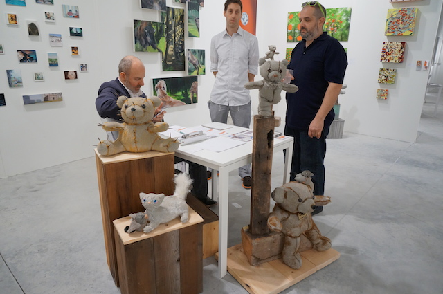 Stuffed/concrete animals by Ross Bonfanti, at Blunt Collective's booth
