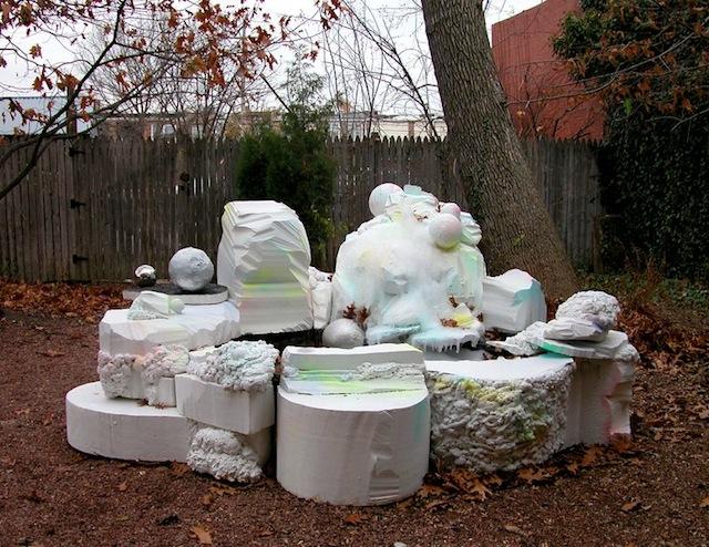 "Sabina Ott, ""pleasure for the poor,"" (2013). Styrofoam, plastic, pump, glitter, spray enamel, water. 52"" x 110"" x 100""."