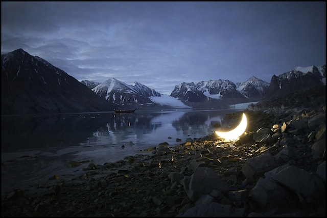 """""""Private Moon"""" in the Arctic Svalbard Magdalene fjord in 2010"""