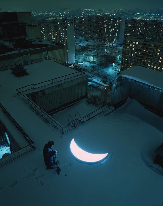 """""""Private Moon"""" on a snowy Russian roof"""