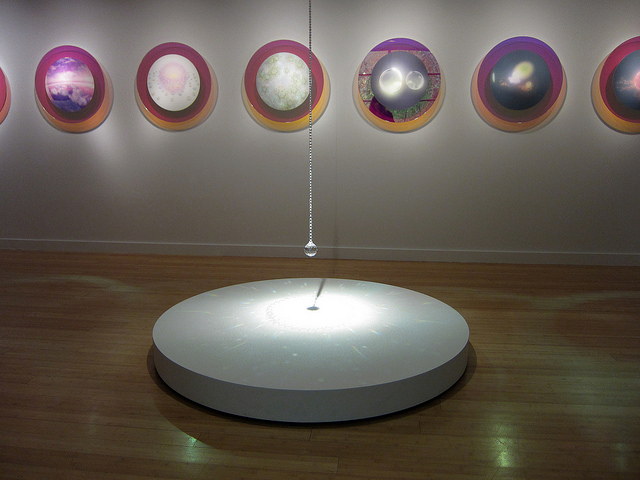 "Mariko Mori, ""Miracle"" (2001), eight Cibachrome prints, diachronic glass, salt, and crystals"