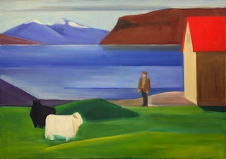 "Louisa Matthiasdottir, ""Icelandic Landscape with Sheep, Man and Red_Roof"" (c.1983), oil on canvas, 37 x 52 in (courtesy Tibor de Nagy) (click to enlarge)"