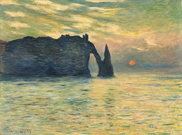 """Claude Monet, """"The Cliff, Étretat, Sunset"""" (1882–83), oil on canvas, 23 13/16 x 32 3/16 in (via collection.ncartmuseum.org)"""