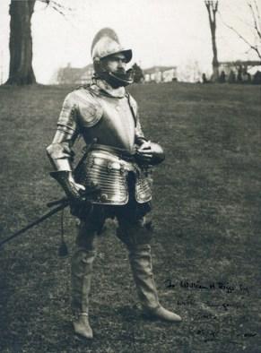 Bashford Dean in 1575 Italian infantry armor, in Riverdale, New York, 1920 (courtesy Metropolitan Museum of Art)
