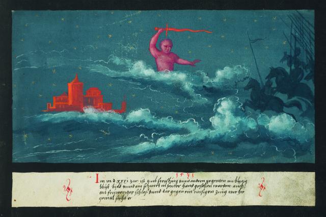 """1531 – Celestial swordsman, castle and army over Strasbourg"""