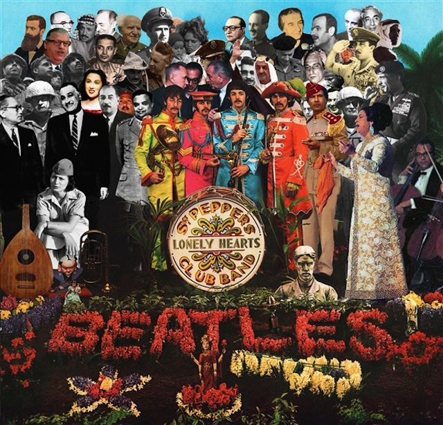 Michael Rakowitz's remixed Sgt. Pepper's Lonely Hearts Club Band album cover via rhoffmangallery.com