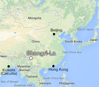 The location of Shangri-La in Yunan province, China. (graphic by Hyperallergic)