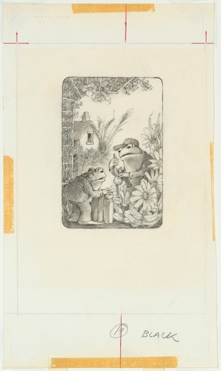 """Arnold Lobel, """"And soon you will have a garden,"""" final illustration for Frog and Toad Together, 1980. Graphite, ink, and wash on paper, 17 15/16 x 27 7/8 in. Courtesy of The Estate of Arnold Lobel. (click to enlarge)"""