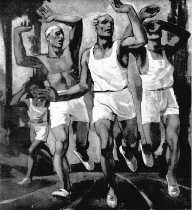 """Rudolf Herman Eisenmenger's """"Runners at the Finish Line"""" won a silver medal at the 1936 art Olympics (image via igetitart.com)"""