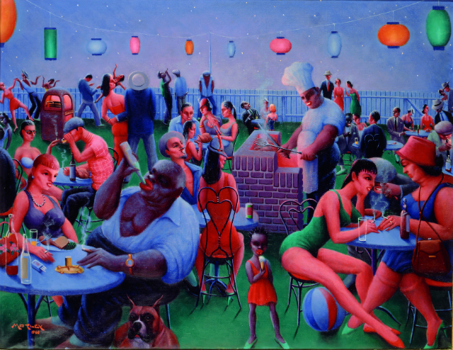 Archibald J. Motley Jr., Barbecue, 1960. Oil on canvas, 30.375 x 40 inches (77.2 x 101.6 cm). Collection of Mara Motley, MD, and Valerie Gerrard Browne. Image courtesy of the Chicago History Museum, Chicago, Illinois. © Valerie Gerrard Browne.