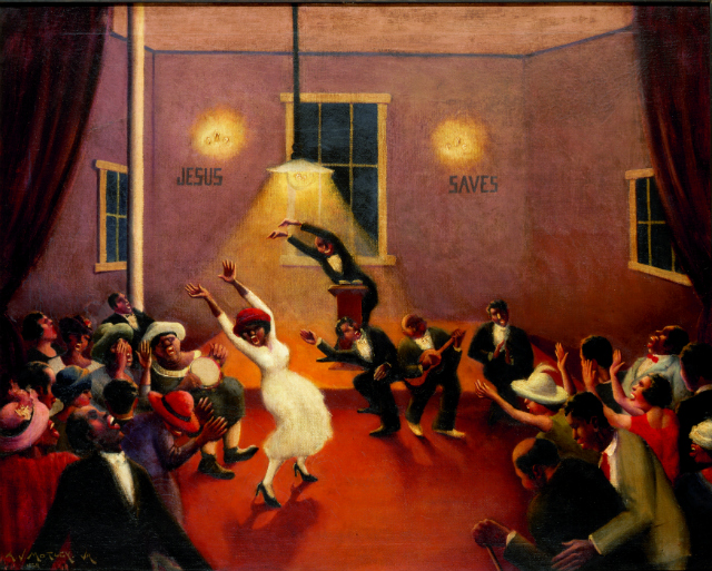 Archibald J. Motley Jr., Tongues (Holy Rollers), 1929. Oil on canvas, 29.25 x 36.125 inches (74.3 x 91.8 cm). Collection of Mara Motley, MD, and Valerie Gerrard Browne. Image courtesy of the Chicago History Museum, Chicago, Illinois. © Valerie Gerrard Browne.