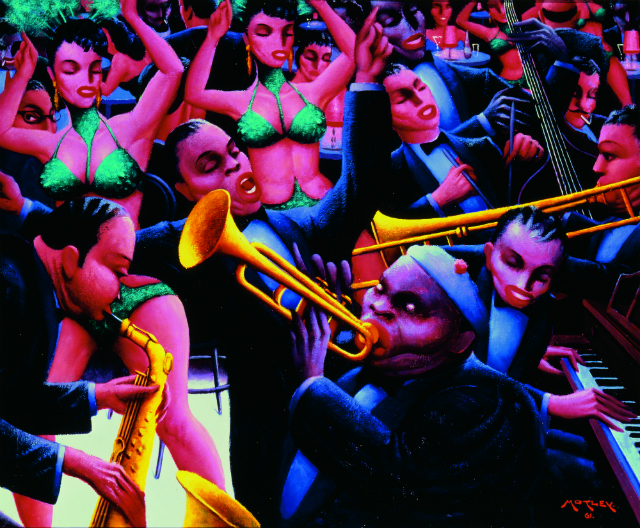 Archibald J. Motley Jr., Hot Rhythm, 1961. Oil on canvas, 40 x 48.375 inches (101.6 x 122.9 cm). Collection of Mara Motley, MD, and Valerie Gerrard Browne. Image courtesy of the Chicago History Museum, Chicago, Illinois. © Valerie Gerrard Browne.