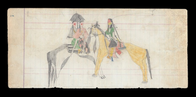 "Suitor astride a Yellow Horse Southern Cheyenne, c. 1870 The Sheridan Pages, p. 7 Color and graphite pencil on ledger paper, 11 ¾"" x 5 ¼"" H. Malcolm Grimmer"