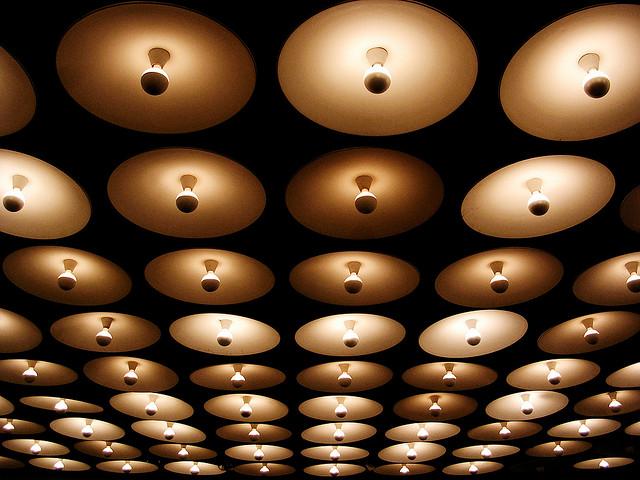 The lobby lights of the Whitney Museum (image via Jo Poon's Flickstream)