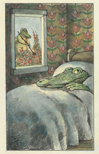 """Arnold Lobel, """"The Crocodile in the Bedroom,"""" final illustration for 'Fables' (1980), graphite, ink, and watercolor on paper, 17 15/16 x 13 7/8 in (courtesy and c the Estate of Arnold Lobel)"""