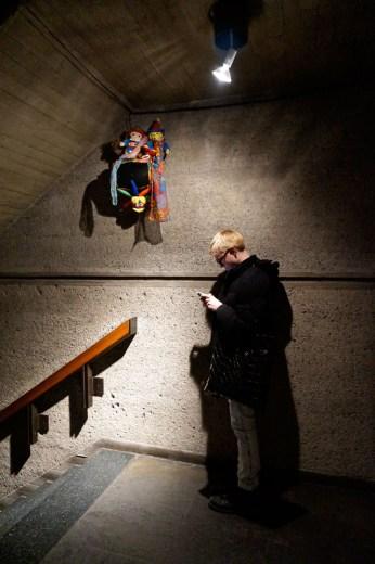 "Charlemagne Palestine's 12-channel sound installation ""hauntteddd!! n huntteddd!! n daunttlesss!! n shuntteddd!!"" (2014) fills the Whitney's stairwell. (click to enlarge)"