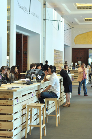 A London online radio channel was broadcasting live from the lobby of Art Dubai's contemporary section.