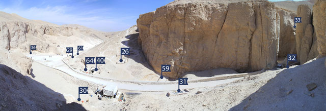 Panorama view over the area in the Valley of Kings investigated by the University of Basel Kings' Valley Project