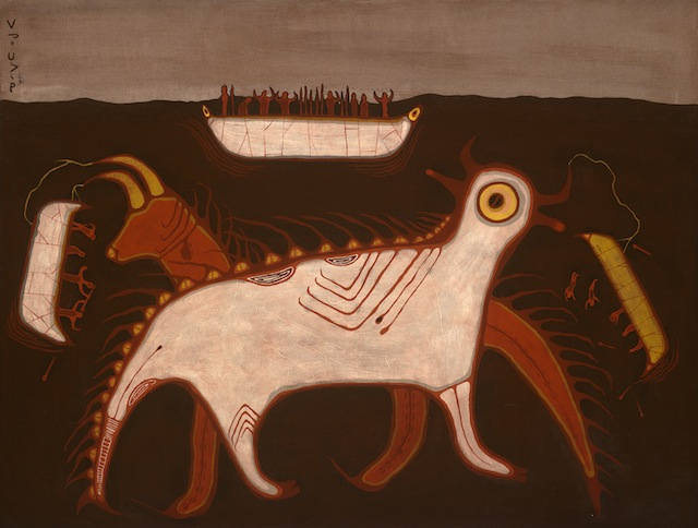 Courtesy of Blake Debassige. Photo by Brian Boyle. © 2011 Royal Ontario Museum Blake Debassige (Ojibwa), b. 1956 One Who Lives under the Water, ca.1978 Acrylic on canvas On loan from the Royal Ontario Museum, Toronto, Canada