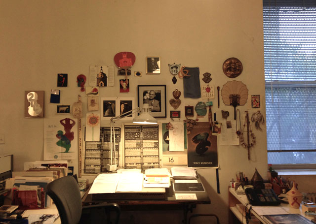 Glaser's desk, inside his studio (photo by the author for Hyperallergic)