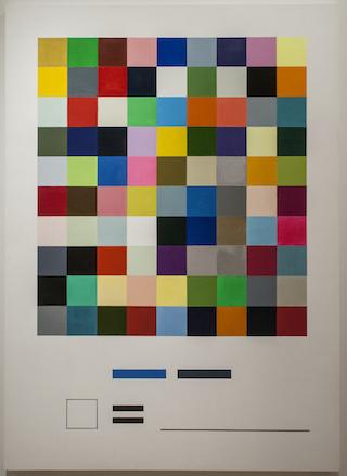 "William Powhida, ""Palette I"" (2014), oil on canvas, 78 x 56 in (Image via postmastersart.com)"