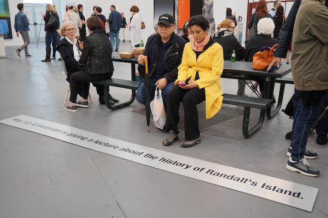 People resting by Koki Tanaka's Frieze Project