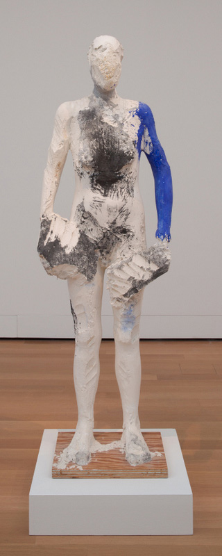 """Manuel Neri, """"M. J. Series III"""" (1989), plaster, dry pigment, steel, Styrofoam, and burlap, 67 1/2 x 22 x 11 in. (171.5 x 55.9 x 27.9 cm). Lent by John Berggruen Gallery, San Francisco. Proposed acquisition by the Yale University Art Gallery. (image courtesy the artist and Hackett 