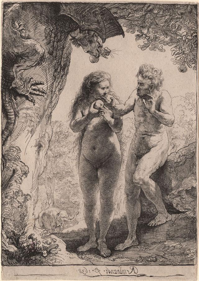 "Rembrandt Harmenszoon van Rijn, ""Adam and Eve"" (1638), etching, 162 x 116 mm"