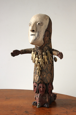 "Richard C. Smith, ""Time Bearer"" (2013), found wood, 17 in tall (courtesy of Henry Boxer Gallery, London)"