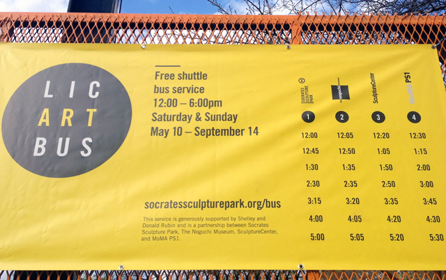 Image of a banner promoting the LIC Art Bus (courtesy the Socrates Sculpture Park)