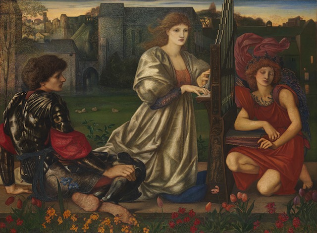 """Sir Edward Burne-Jones, """"The Love Song"""" (1868–77), Oil on canvas, 45 x 61 3/8 in. (courtesy the Metropolitan Museum of Art, The Alfred N. Punnett Endowment Fund, 1947)"""