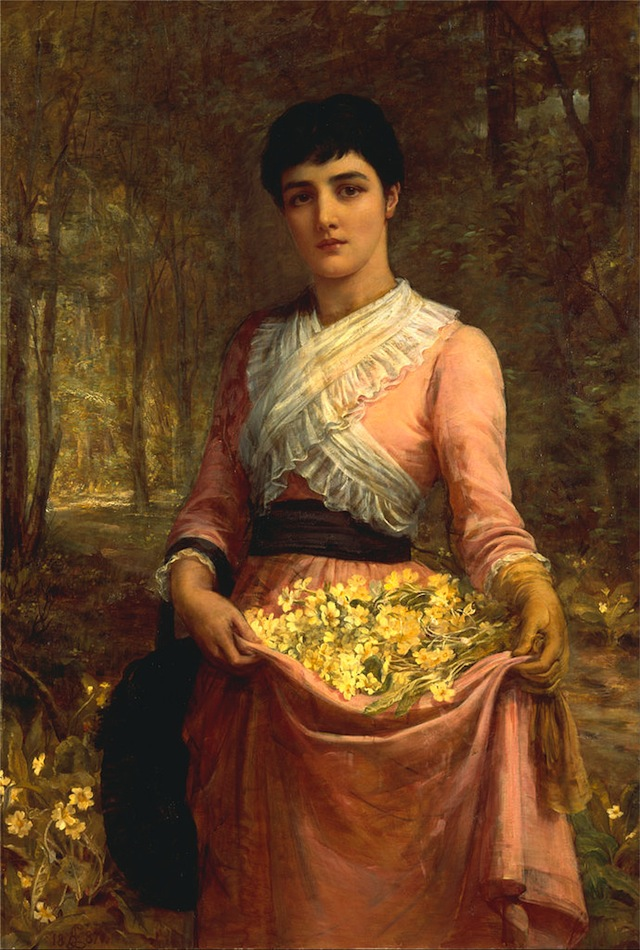 """Edwin Long, """"The Daughters of Our Empire. England: The Primrose"""" (1887), oil on canvas (via Yale Center for British Art)"""