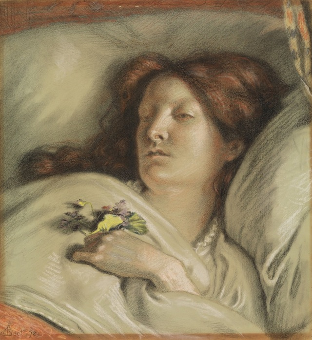 """Ford Madox Brown, """"Convalescent, Portrait of the Artist's Wife"""" (1872), Pastel, 18 3/8 x 17 3/8 in. (courtesy the Metropolitan Museum of Art, Rogers Fund, 1909)"""