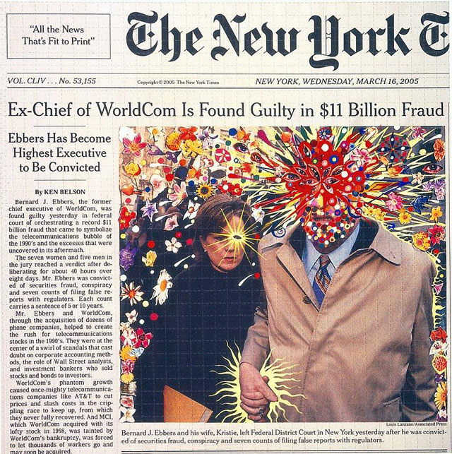 """Fred Tomaselli, """"Guilty"""" (2005), print, 13 x 13 in (33 x 33 cm)"""