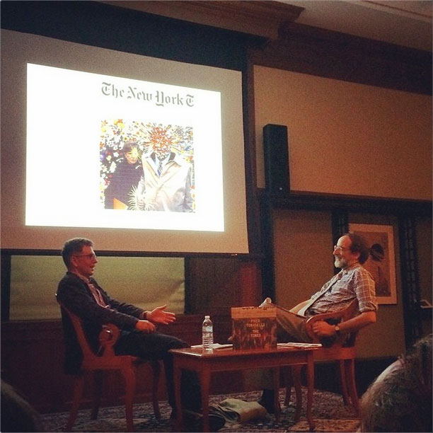 Fred Tomaselli and Lawrence Weschler in conversation at the New York Public Library (image via James Cohan Gallery on Instagram)