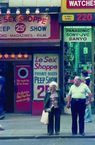 """Max Allen, """"Streetscape of 42nd St in New York City"""" (1979), Marc S. Bonham Centre for Sexual Diversity Studies Sexual Representation Collection (click to enlarge)"""