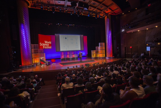 """""""What Is Color?"""" event with David Eagleman onstage (photograph by Greg Kessler, courtesy World Science Festival)"""