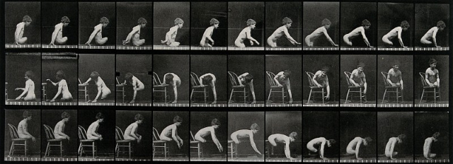 A double amputee climbing on to a chair, descending from a chair and moving. Photogravure after Eadweard Muybridge, 1887. (via Wellcome Library)