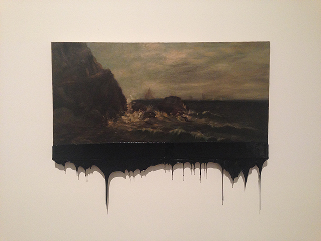 """Minerva Cuevas, """"Offshore"""" (2014), oil on compressed wood covered in tar"""