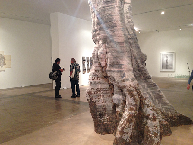 """Miler Lagos, """"The Great Tree"""" (2014), newsprint and steel"""