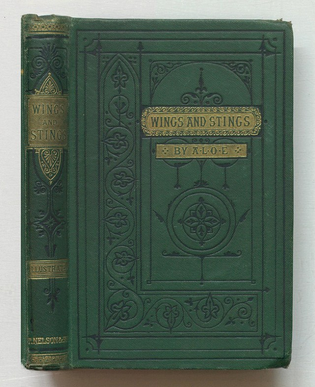 """A.L.O.E., """"Wings and Stings"""" (1879), bound in green diagonal publisher's cloth block in gold and black (via Thomas Fisher Rare Book Library)"""