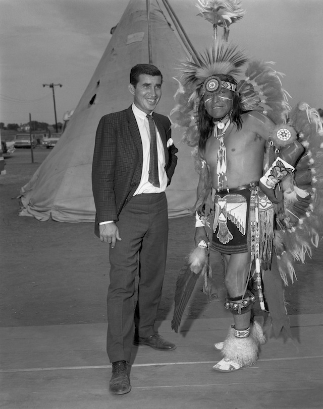 "Caption: Danny Williams, left, and George ""Woogie"" Watchtaker (Comanche) at the Anadarko Indian Exposition. Anadarko, Oklahoma, ca. 1959. 45EXP17"