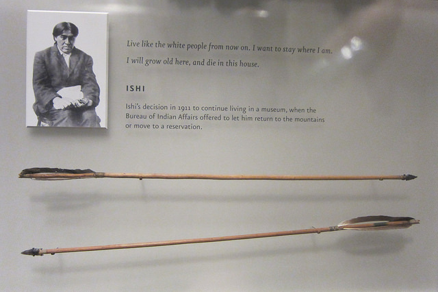 Ishi's arrows in the Museum of the American Indian (photograph by the author for Hyperallergic)