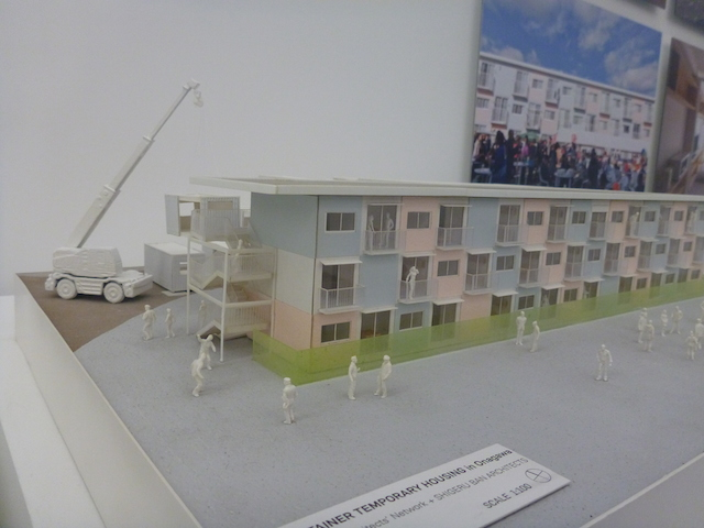 A scale model of Ban's designs for shipping containers serving as temporary housing.