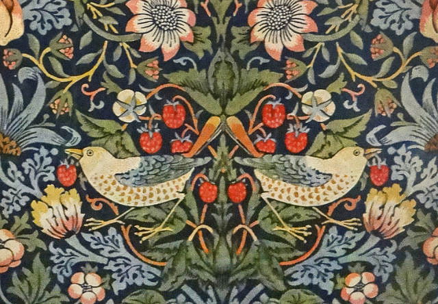 by William Morris, indigo-discharged & block-printed cotton (1883) (via Victoria & Albert Museum)