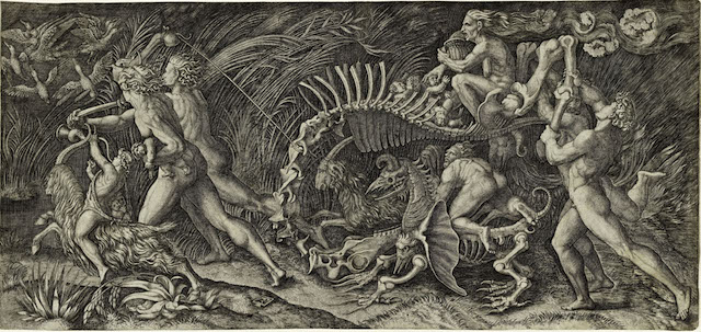 Agostino Musi (Italy, c. 1490–after 1536), The Carcass (The Witches Procession), 1520–1527. Engraving. Lent by Kirk Edward Long.