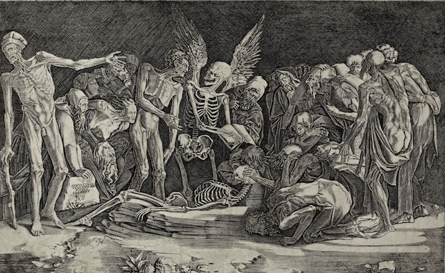 Agostino Musi, called Agostino Veneziano (Italy, c. 1490–after 1536), The Skeletons, 1518. Engraving. Lent by Kirk Edward Long.