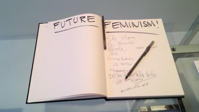 The guest book on opening night of FUTURE FEMINISM at The Hole, NYC, September 11, 2014 (All photos by author for Hyperallergic.)