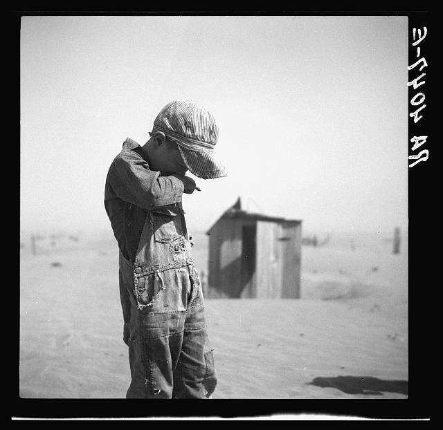 Farmer's son in the dust of Cimarron County, Oklahoma, photograph by Arthur Rothstein (April 1936) (via Photogrammar/Library of Congress)