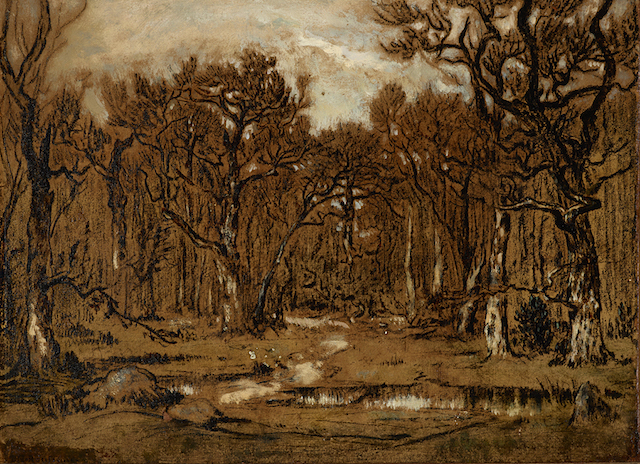 "Théodore Rousseau, ""Study for The Forest in Winter at Sunset"" (ca. 1846), oil over charcoal with white heightening on paper, mounted to canvas, 9 5/8 x 13 1/4 inches. Private collection (all images courtesy the Morgan Library & Museum)"